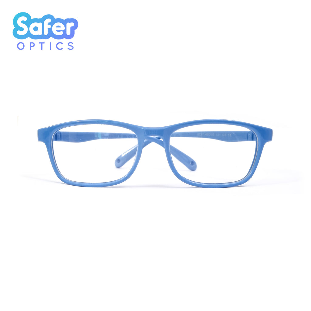 Kids Ultra Flex Rectangle - Sky Blue - SaferOptics Anti Blue Light Glasses Malaysia | 420Safety, Blue, Flex, Kids, new, Rectangle, Small