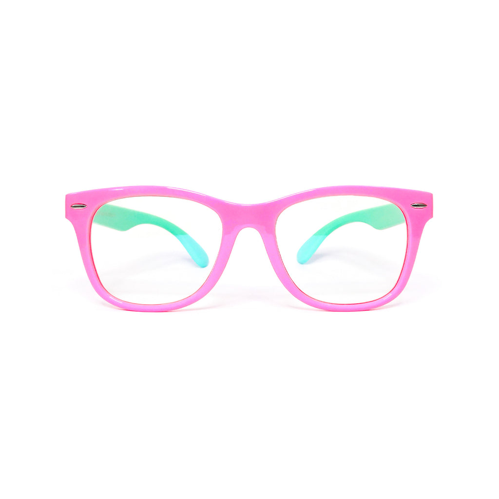 Kids Wayfarer - Bubble Gum - SaferOptics Anti Blue Light Glasses Malaysia | 420Safety, Big, Kids, Pink, Square, Wayfarer
