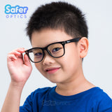 Kids Wayfarer - Licorice - SaferOptics Anti Blue Light Glasses Malaysia | 420Safety, Big, Black, Kids, Square, Wayfarer