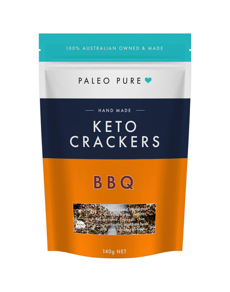 Keto crackers - BBQ 140gm - (Box of 6 packets) (coming April) - PaleoPure