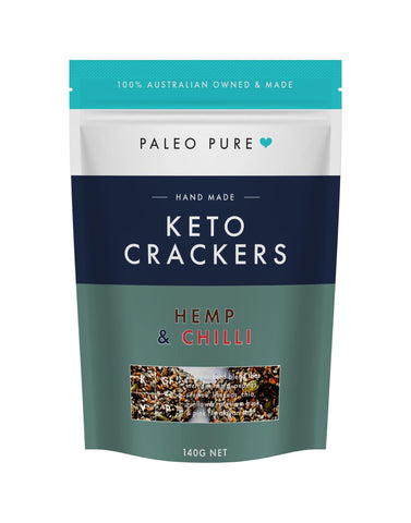 Keto crackers - Hemp Seed & Chilli 140gm (Box of 6 packets)