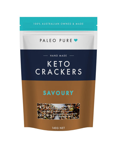 Keto crackers - Savoury 140gm (Box of 6 packets) - PaleoPure