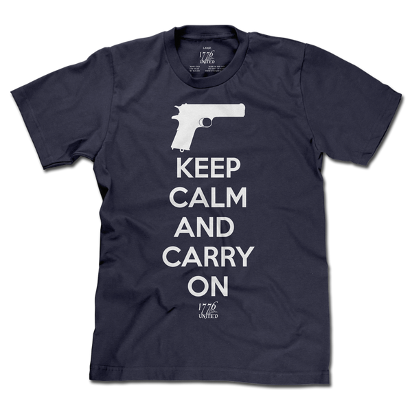 Keep Calm and Carry On - Blue - Shirt - 1776 United