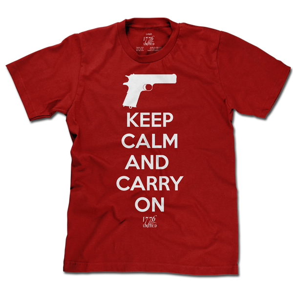 Keep Calm and Carry On - Red - Shirt - 1776 United