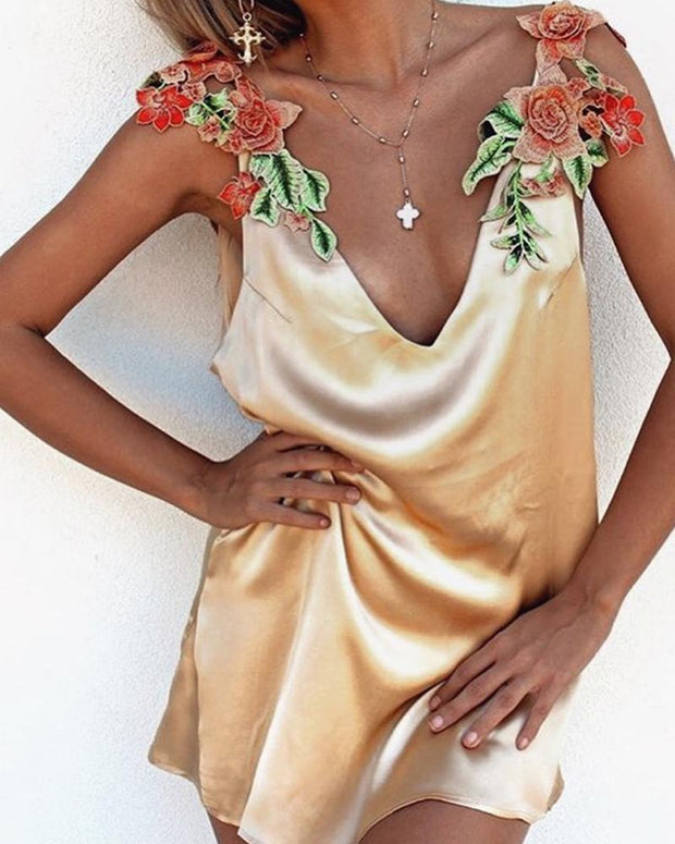Floral Embroidery Satin Slip Dress