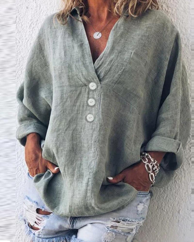 Button-Up Cotton & Linen Blouse