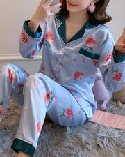 Cartoon Print Two-Piece Pajama Set