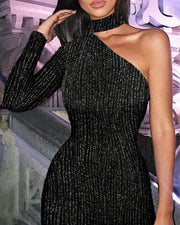 Glitter One Shoulder Bodycon Dress