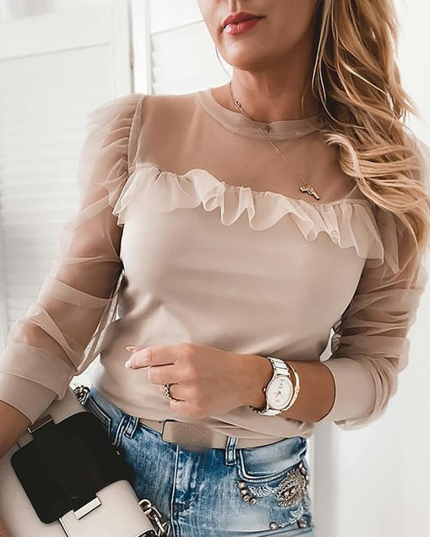 Sheer Mesh Ruffles Long Sleeve Top