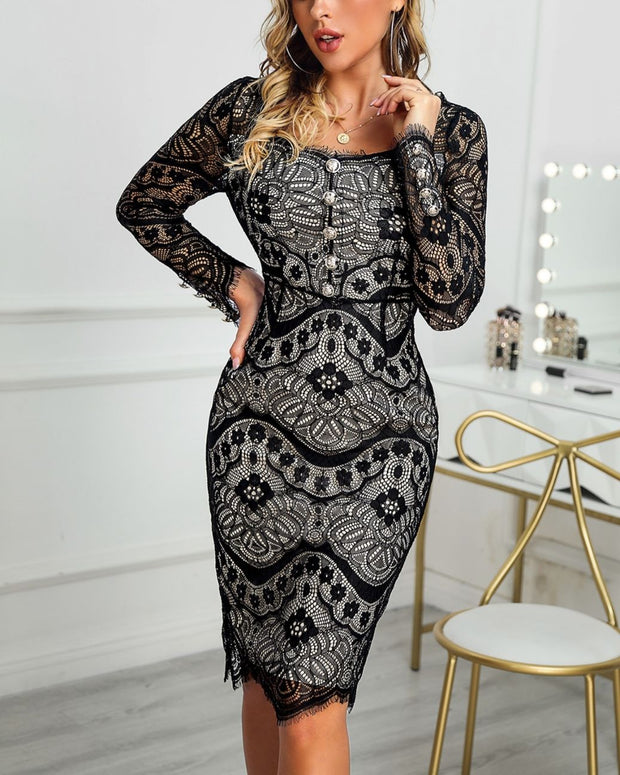 Hollow Out Long Sleeve Lace Dress