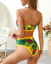 Palm Leaf Print Tube Bikini Set