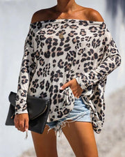 Off Shoulder Cheetah Print Long Sleeve Top