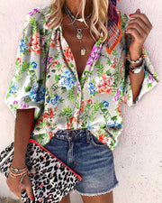 Floral Print Buttoned Lantern Sleeve Shirt