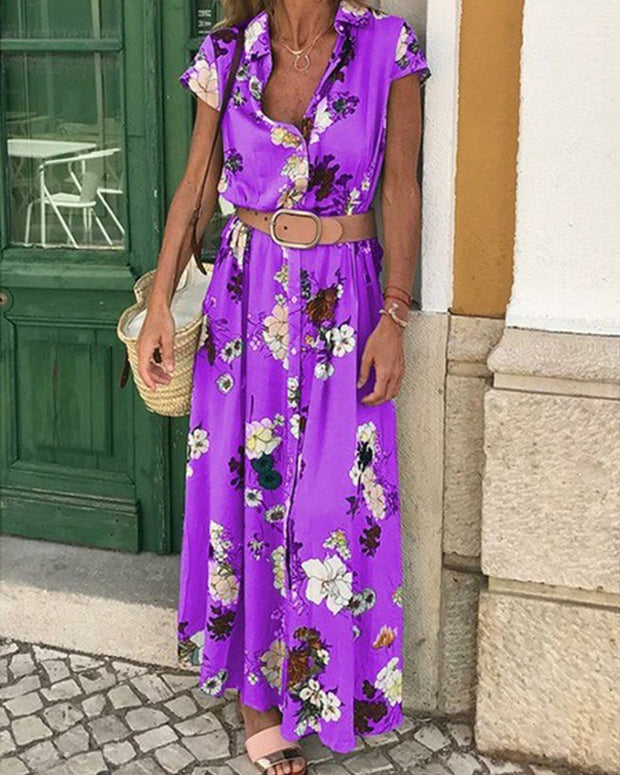 Floral Shirt Collar Waist Belt Short Sleeve Maxi Dresses Casual/Vacation Dresses - Purple