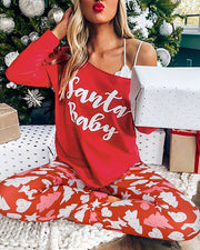 Christmas Letter Print Long Sleeve Top & Striped Pants Set