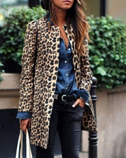 Leopard Print Long Sleeve Casual Longline Coat
