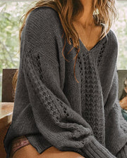 Solid V-Neck Lantern Sleeve Hollow Out Sweater