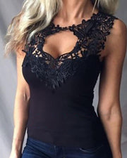 Lace Trim Cutout Sleeveless Top