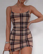 Spaghetti Strap Grid Mini Dress