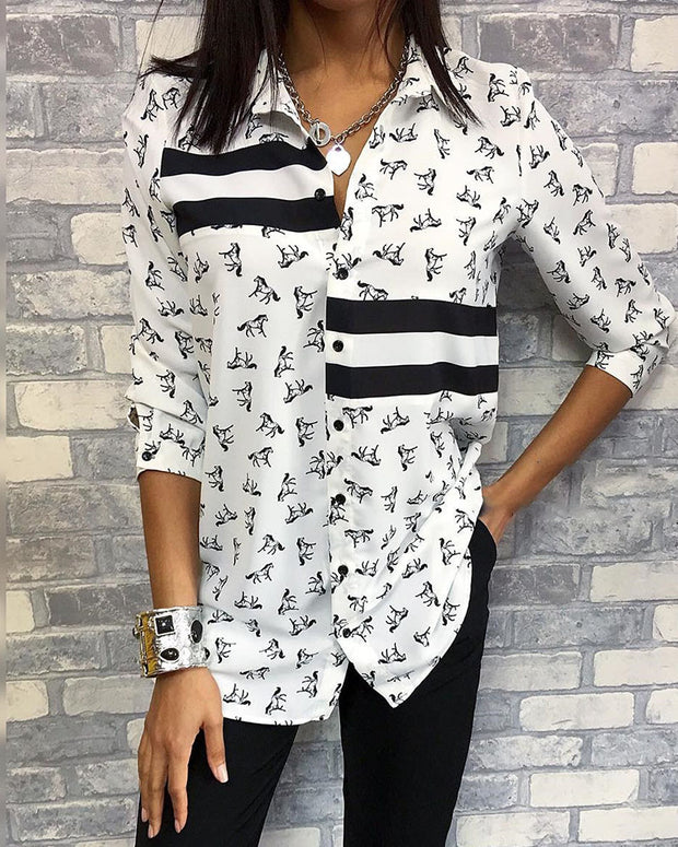 Horse Pattern Contrast Striped Shirt
