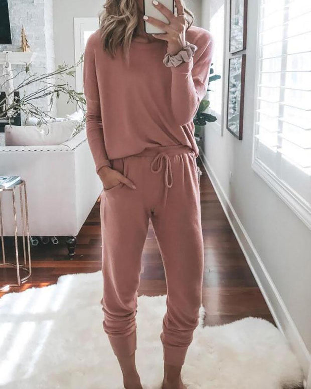 Solid Long Sleeve Top & Drawstring Casual Pants Set
