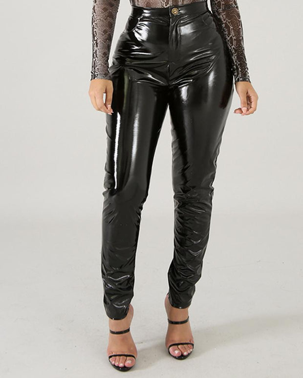 Solid Faux Leather Skinny Pants