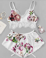 Floral Print Lace Trim Cami Set