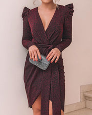 Shiny Ruched Tie Waist Wrap Irregular Dress
