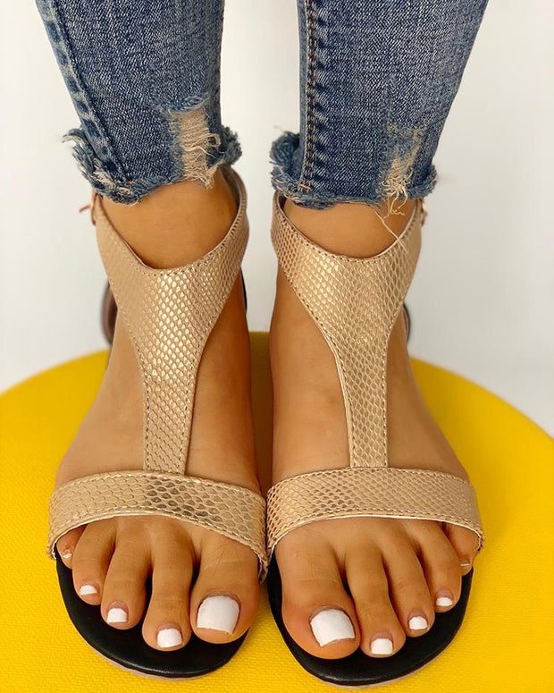 Open Toe T-Strap Design Flat Sandals