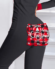Christmas Colorblock Functional Buttoned Flap Adults Pajamas