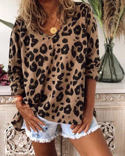 V Neck Leopard Print Loose Top