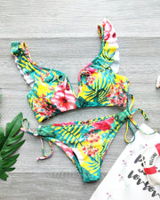 Palm Leaf Print Ruffles Bikini Set