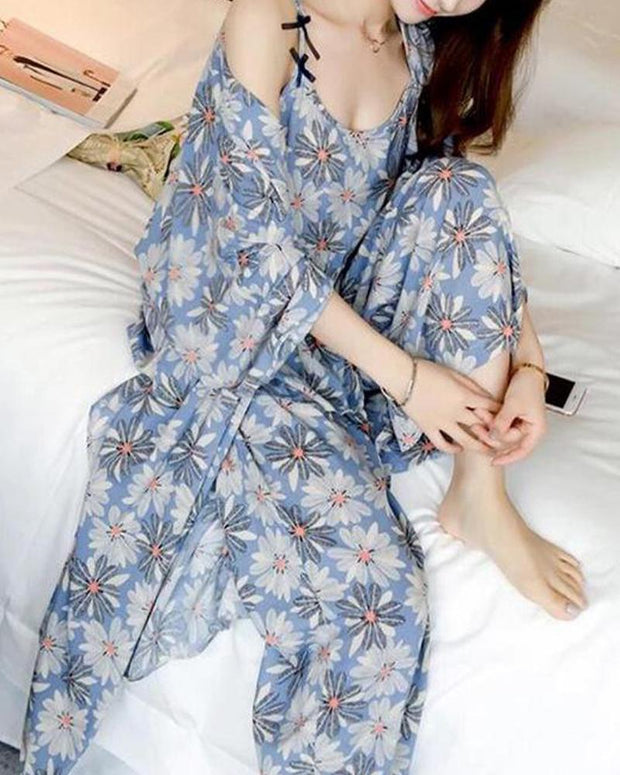 Tropical Print 3-Piece Pajama Set