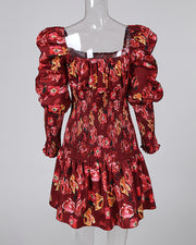 Random Floral Print Puff Sleeve Pleated Dress