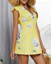 Floral Tie Waist Mini Dress