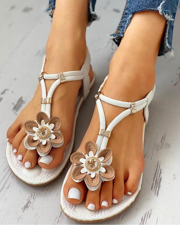 Flower Embellished Toe Post Flat Sandals