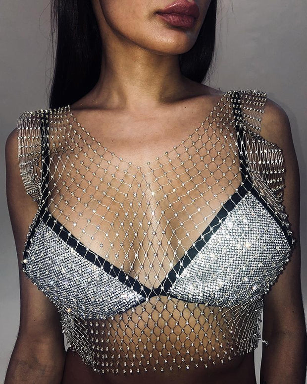 See Through Hollow Out Studded Top