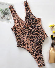 Leopard Print  Cutout One Piece Swimsuit