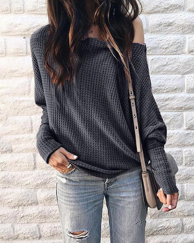 Long Sleeve Casual Hollow Out Top
