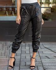Elastic Waist Zipper Detail PU Pants