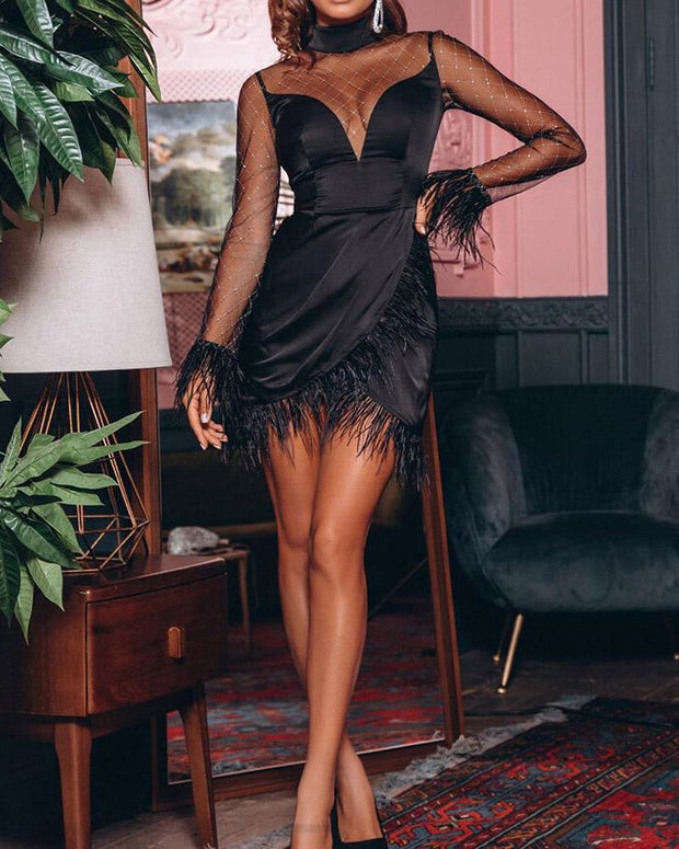 Sheer Mesh Fluffy Ruched Party Dress