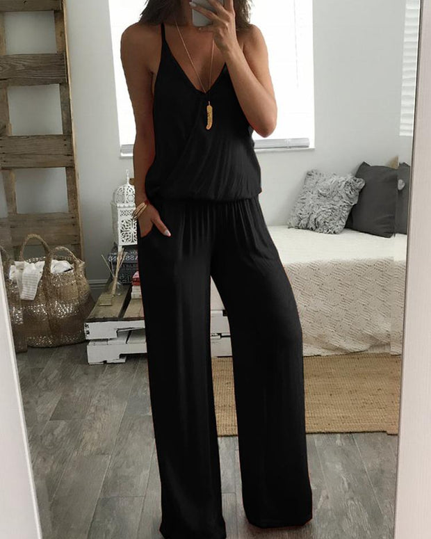 Low Cut Ruched Elastic Waist Wide Leg Wrap Jumpsuit