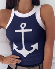 Boat Anchor Print Round Neck Tank Top