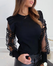 Mesh Lace Trim Frill Ribbed Blouse