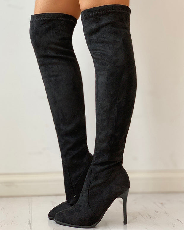 Suede Solid Thin Heeled Long Boot