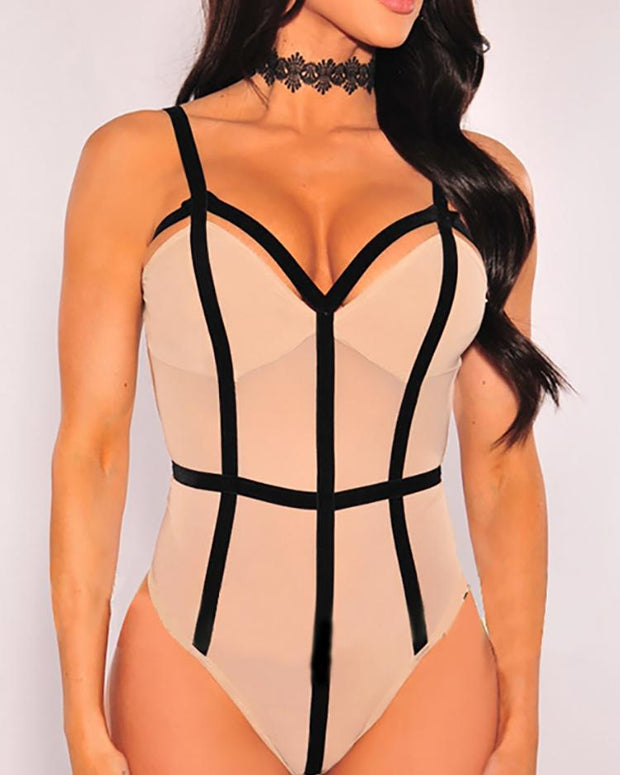 Sexy Bandage Open Back Bodysuit