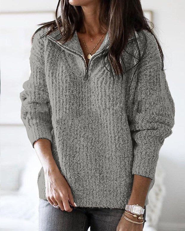 Zip Neck Long Sleeve Sweater