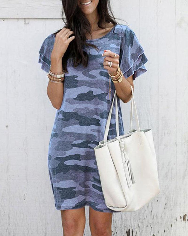 Camo Print Shift Mini Dress