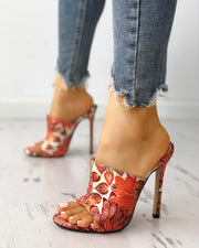 Peacock Feather Print Thin Heeled Sandals