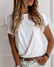 Solid Round Neck Short Sleeve Ruffles T-shirt